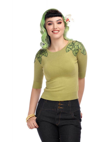 Collectif Chrissie Tropical Leaf 50's Jumper Groen