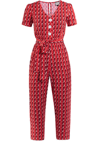 Mademoiselle Yéyé It's A Fab World 70's Jumpsuit Upside Down Rood