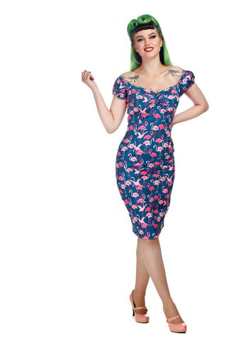 Collectif Dolores Flamingo Flock 50's Pencil Jurk Multi