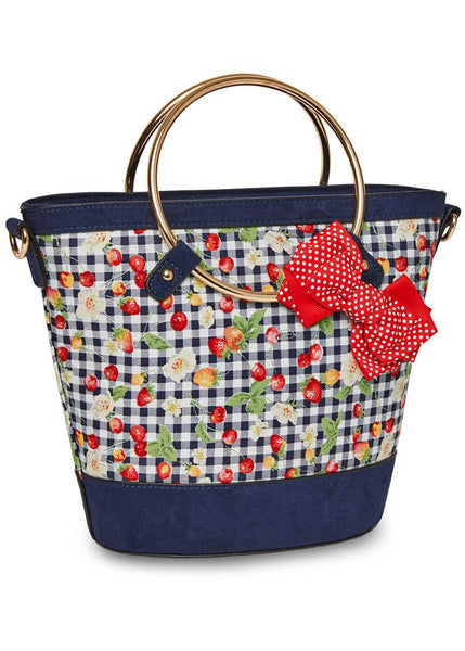 Joe Browns Couture Diva Stawberry Gingham Tas Blauw