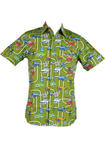Run and Fly Heren Cars Playground Shirt Groen