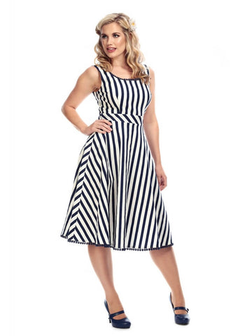 Collectif Lucille Striped 50's Swing Jurk Navy Wit