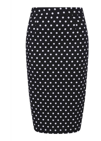 Collectif Polly Polkadot 50's Pencil Rok Zwart