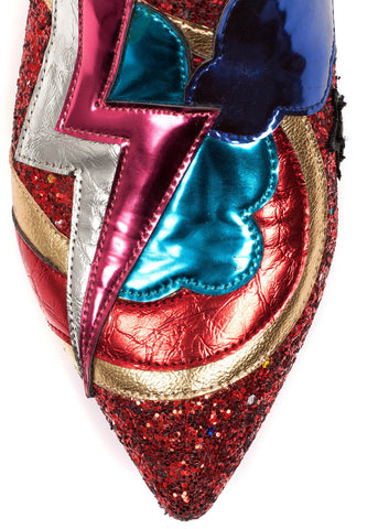 Irregular Choice Electric Buzz Laarsjes Rood Goud