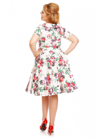 Dolly & Dotty Darlene Floral 50's Swing Jurk Wit
