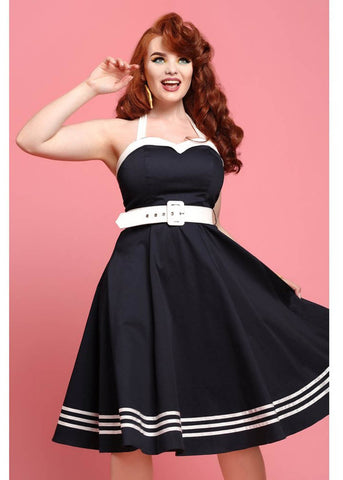 Collectif Georgie Nautical 50's Swing Jurk Navy