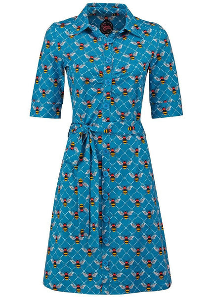 Tante Betsy Button Down Bee 60's Jurk Blauw