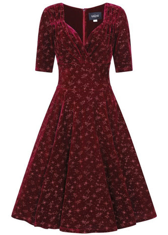 Collectif Trixie Velvet Sparkle 50's Swing Jurk Wijn