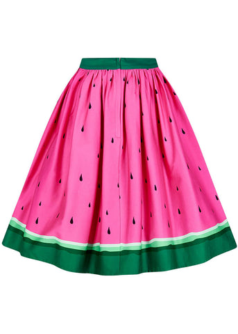 Collectif Jasmine Watermelon 50's Swing Rok Roze Groen