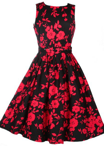 Dolly & Dotty Annie Rode Bloemen 50's Swing Jurk