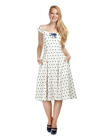 Collectif Virginia Polkadot 50's Swing Jurk Wit Navy