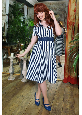 Collectif Brette Striped 50's Swing Jurk Navy Wit