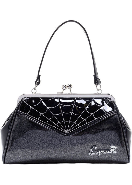 Sourpuss Spiderweb Backseat Baby Handtas Zilver
