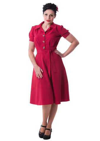Pretty Retro 40's Landgirl Shirt Swing Jurk Rood
