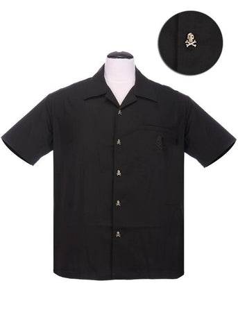 Rock Steady Heren Skull Button Up Overhemd Zwart