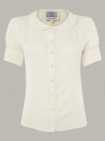 Seamstress of Bloomsbury Jive 40's Crêpe Blouse Cream
