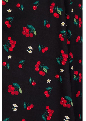 Collectif Tanya Cherries & Blossom 50's Swing Rok Zwart