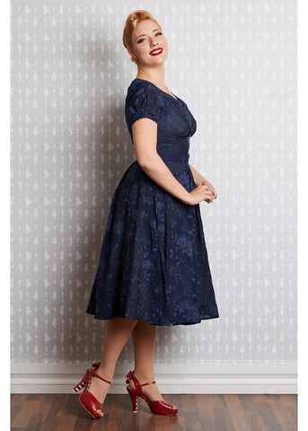 Miss Candyfloss Potts Lee 50's Swing Jurk Navy