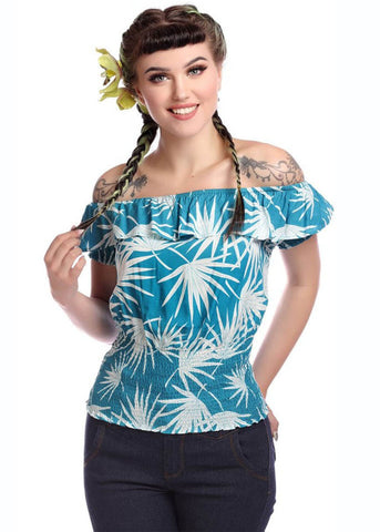 Collectif Bebe Palm Gypsy 50's Top Teal
