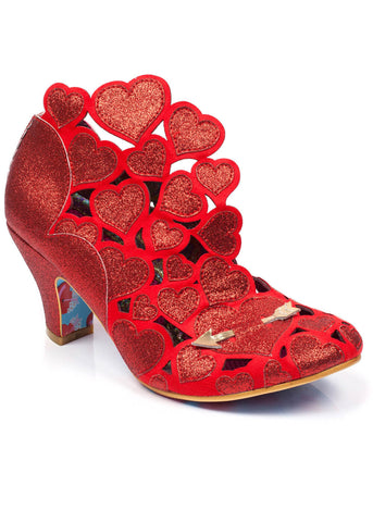 Irregular Choice Meile Hearts Pumps Rood