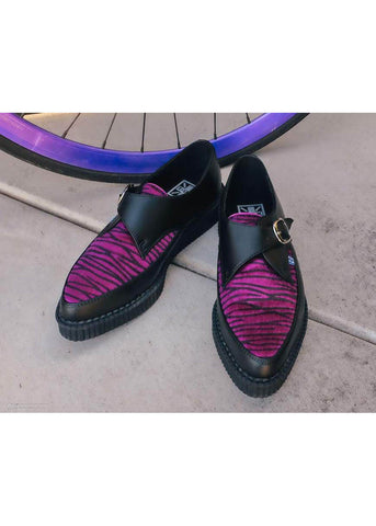 T.U.K Zebra Buckle Pointed Vegan Creepers Zwart Paars