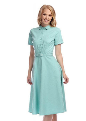 Collectif Keira 50's Swing Jurk Licht Groen