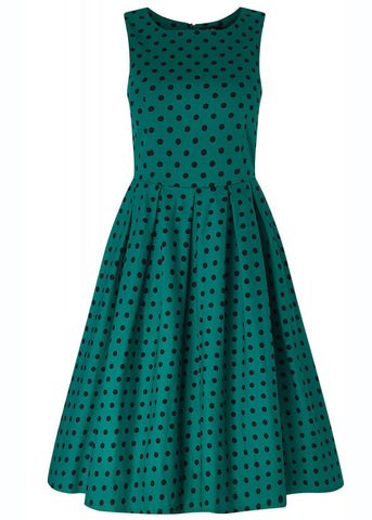 Dolly & Dotty Annie Polkadot 50's Swing Jurk Groen Zwart