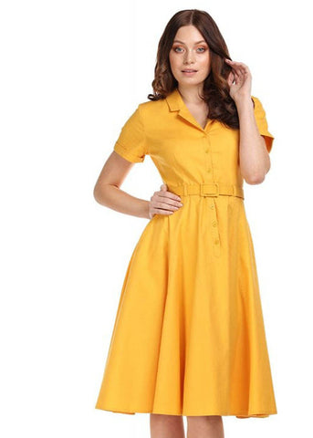 Collectif Caterina 40's Swing Jurk Mosterd