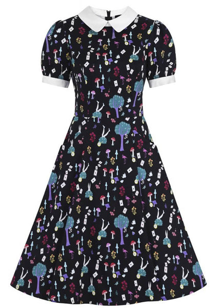 Collectif Peta In Wonderland 40's Swing Jurk Multi