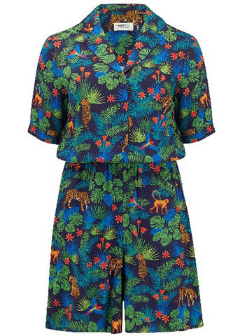Sugarhill Boutique Clara Jungle 60's Playsuit Navy