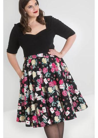 Hell Bunny Queen of Hearts 50's Swing Rok Zwart