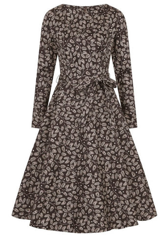 Collectif Arwen Autumn Falls 50's Swing Jurk Bruin