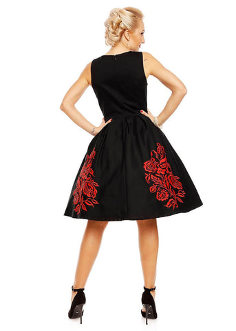 Dolly & Dotty Annie Embroided Floral 50's Swing Jurk Zwart