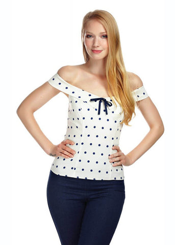 Collectif Virginia Polkadot 50s Top Wit