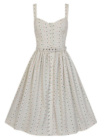 Collectif Jemima Polkadot 50's Swing Jurk Cream