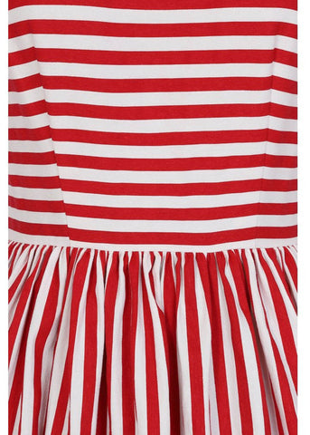 Collectif Candice Striped 50's Swing Jurk Rood Wit
