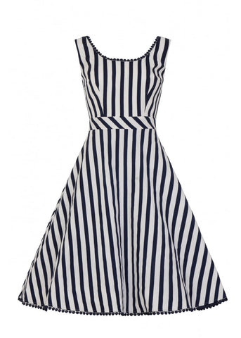 Collectif Lucille Striped Swing 50's Jurk Navy Wit