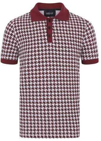 Collectif Heren Pablo Dogtooth Polo Shirt Rood