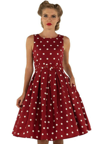Dolly & Dotty Annie Polkadot 50's Swing Jurk Burgundy Wit