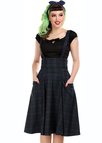 Collectif Alexa Blackwatch Check 50's Swing Rok Multi