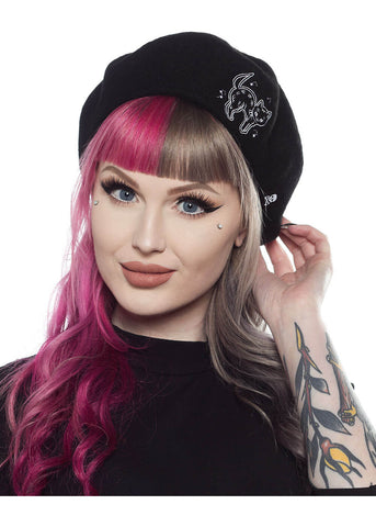 Sourpuss Creep Heart Cat Baret Zwart