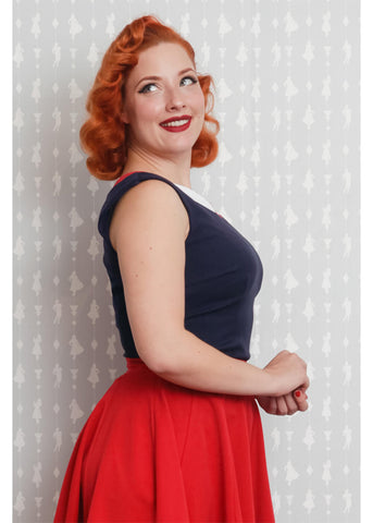 Miss Candyfloss Manuela Petal 40's Top Rood Wit