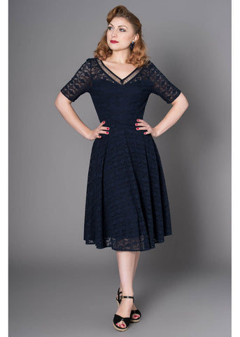 Sheen Grace Lace 50's Swing Jurk Navy
