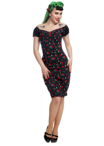 Collectif Dolores Cherries & Blossom 50's Pencil Jurk Zwart