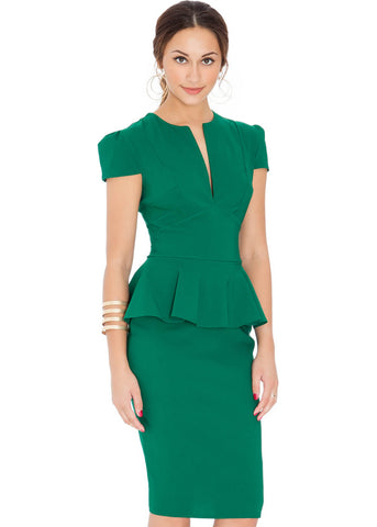 City Goddess Deep Peplum 50's Pencil Jurk Emerald