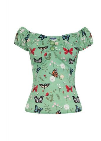 Collectif Dolores Butterfly 50's Top Groen