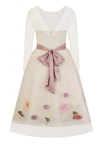 Collectif Flora Occasion 50's Swing Jurk Ivoor