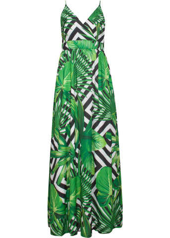 Smashed Lemon Hypno Leaves 70's Maxi Jurk Zwart Wit Groen