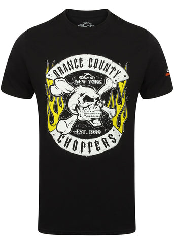Orange County Choppers Mannen Skull Rocker T-Shirt Zwart