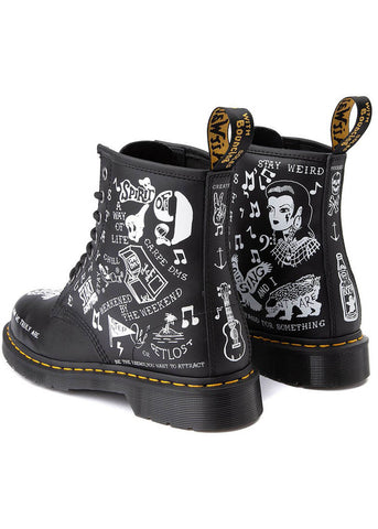 Dr. Martens 1460 Scribble Backhand Veterlaarzen Zwart